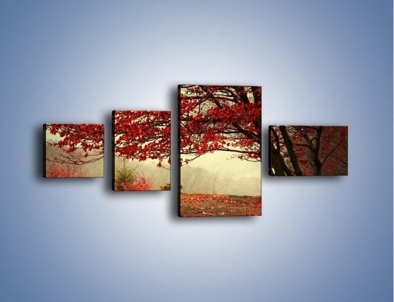 Obraz na płótnie – Spadające liście z drzew – czteroczęściowy KN910W5