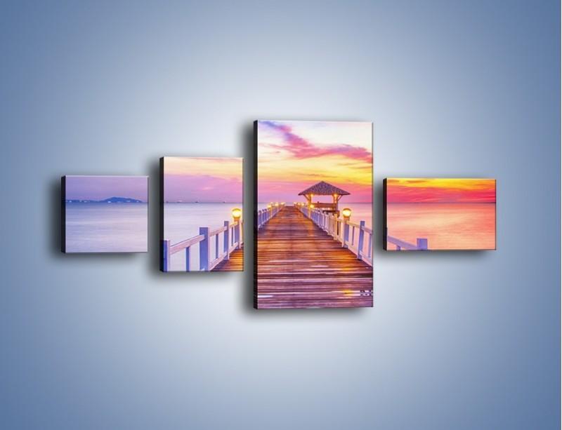 Obraz na płótnie – Spokojnym krokiem po moście – czteroczęściowy KN918W5