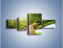 Obraz na płótnie – Bezpieczna droga przez las – czteroczęściowy KN922W5