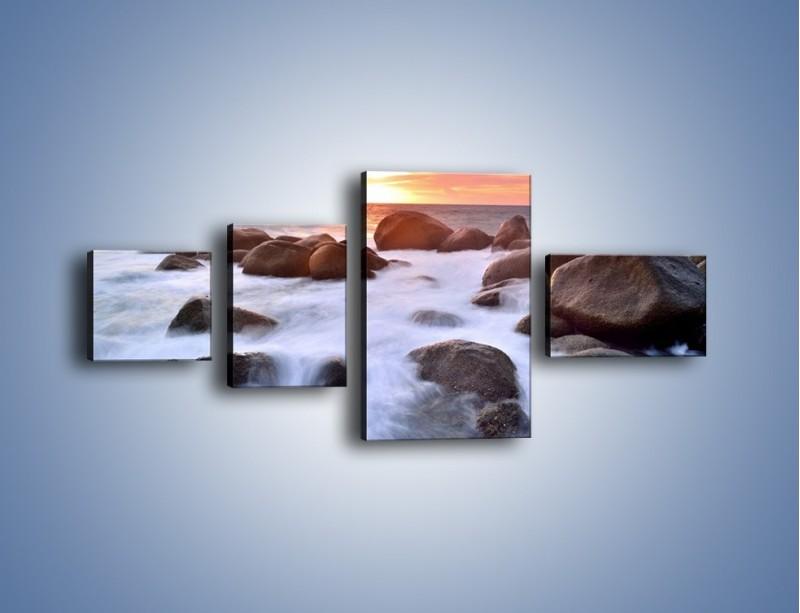 Obraz na płótnie – Kamienie zatopione w morzu – czteroczęściowy KN930W5