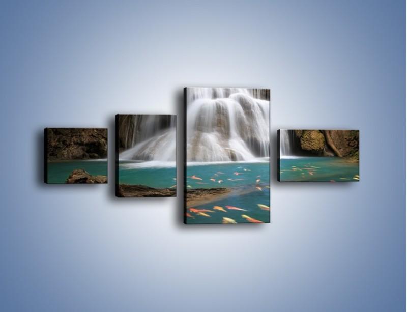 Obraz na płótnie – Wodospad i kolorowe rybki – czteroczęściowy KN994W5