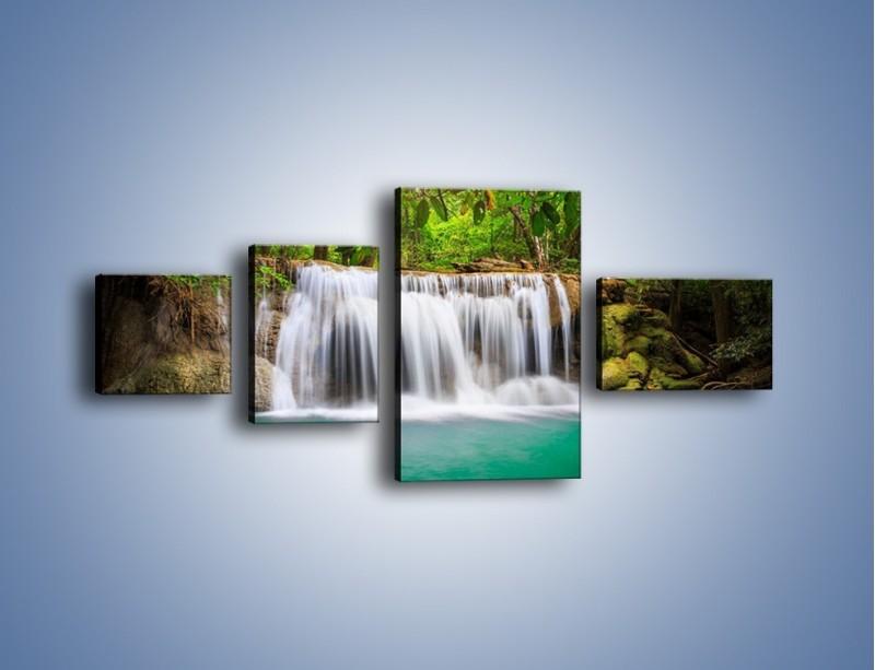 Obraz na płótnie – Kąpiel w środku lasu – czteroczęściowy KN995W5