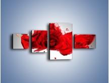 Obraz na płótnie – Czerwona róża i kobieta – czteroczęściowy L144W5