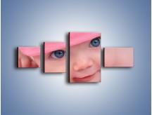 Obraz na płótnie – Bobas w różowej czapeczce – czteroczęściowy L256W5