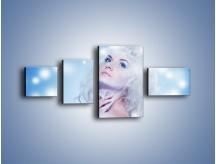 Obraz na płótnie – Biała dama i światełka – czteroczęściowy L318W5