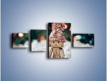 Obraz na płótnie – Mały ludek zimową porą – czteroczęściowy O166W5