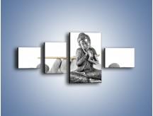 Obraz na płótnie – Budda wśród szarości – czteroczęściowy O220W5