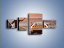 Obraz na płótnie – Chevrolet Camaro na pustynnej drodze – czteroczęściowy TM080W5