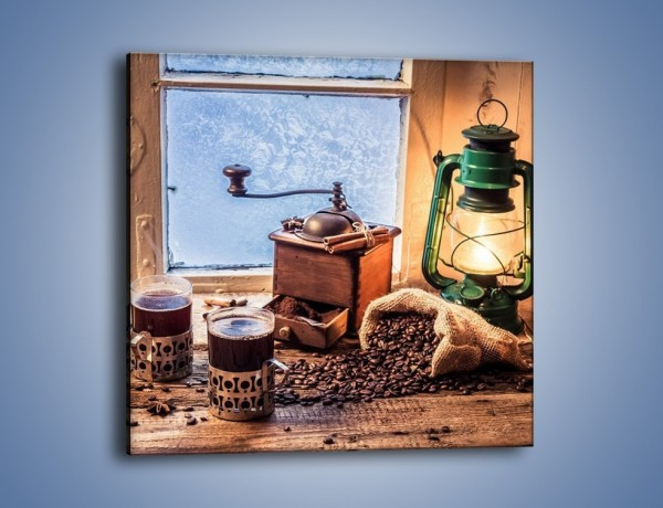 Obraz na płótnie – Mroźne wieczory przy kawie – jednoczęściowy kwadratowy JN531