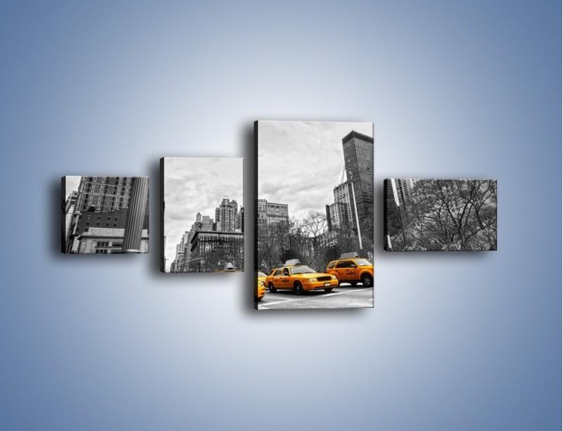 Obraz na płótnie – Żółte taksówki na szarym tle miasta – czteroczęściowy TM225W5