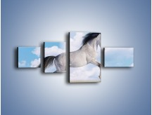 Obraz na płótnie – Białe obłoki i koń – czteroczęściowy Z019W5
