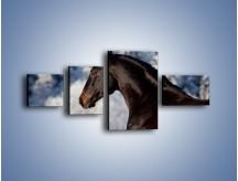 Obraz na płótnie – Brązowy ogier na zimowym spacerze – czteroczęściowy Z056W5