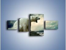 Obraz na płótnie – Donośny krzyk polarnego niedźwiedzia – czteroczęściowy Z114W5