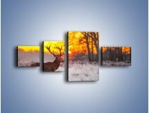 Obraz na płótnie – Jeleń o zachodzie słońca – czteroczęściowy Z164W5