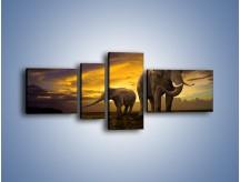 Obraz na płótnie – Ciekawość małego słonika – czteroczęściowy Z212W5