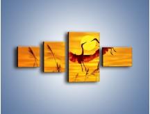 Obraz na płótnie – Czaple i zachód słońca – czteroczęściowy Z302W5
