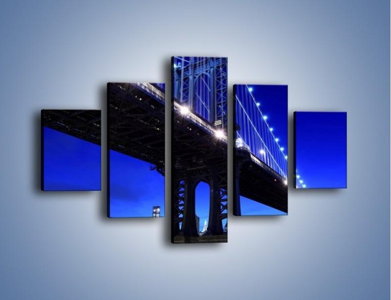 Obraz na płótnie – Oświetlony most wieczorem – pięcioczęściowy AM003W1
