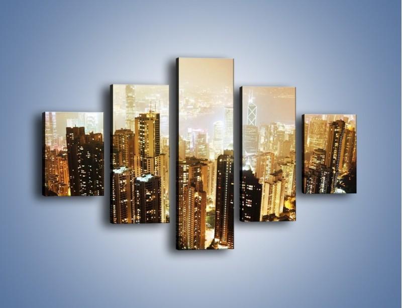 Obraz na płótnie – Miasto widziane z góry – pięcioczęściowy AM007W1