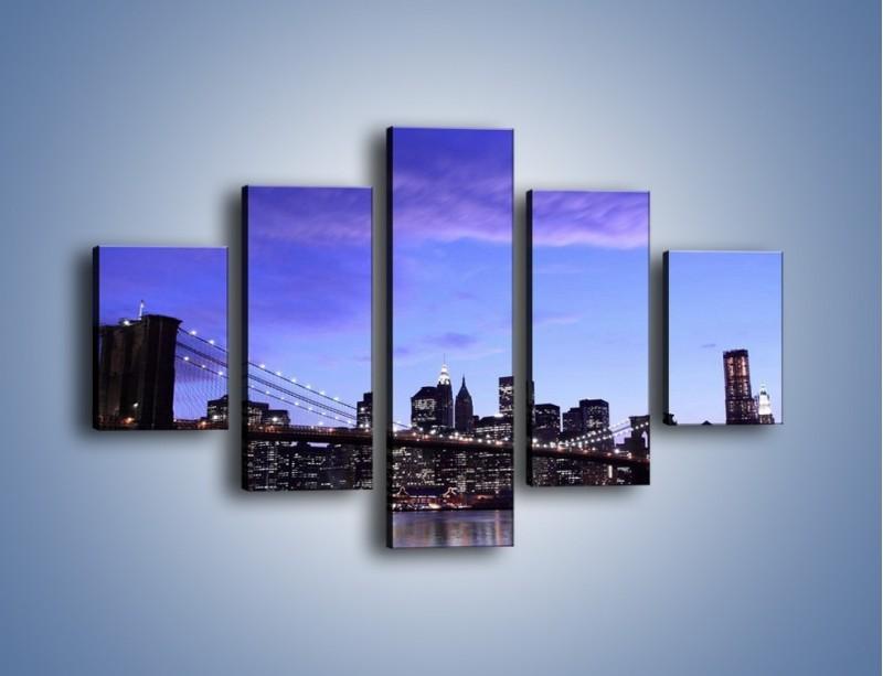 Obraz na płótnie – Most Brookliński przed zmierzchem – pięcioczęściowy AM016W1