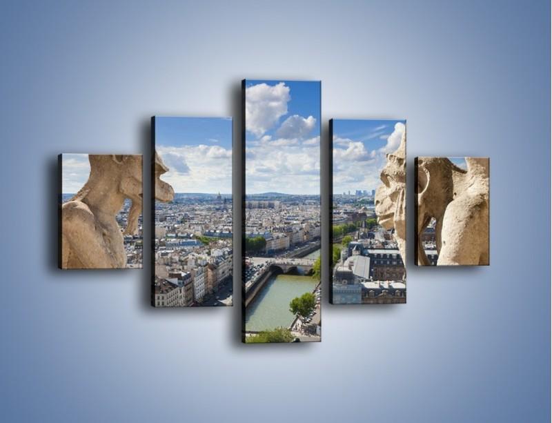 Obraz na płótnie – Kamienne gargulce nad Paryżem – pięcioczęściowy AM037W1