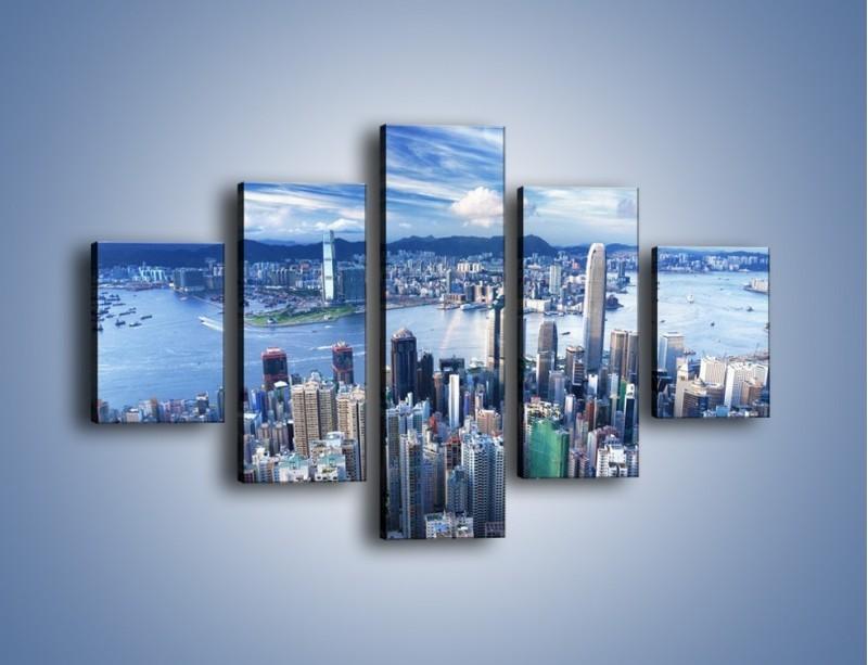 Obraz na płótnie – Miasto portowe o poranku – pięcioczęściowy AM050W1