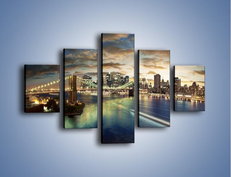 Obraz na płótnie – Oświetlony most w Nowym Jorku – pięcioczęściowy AM066W1