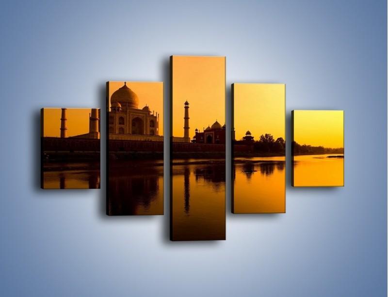 Obraz na płótnie – Taj Mahal o zachodzie słońca – pięcioczęściowy AM075W1
