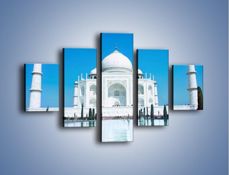 Obraz na płótnie – Taj Mahal pod błękitnym niebem – pięcioczęściowy AM077W1