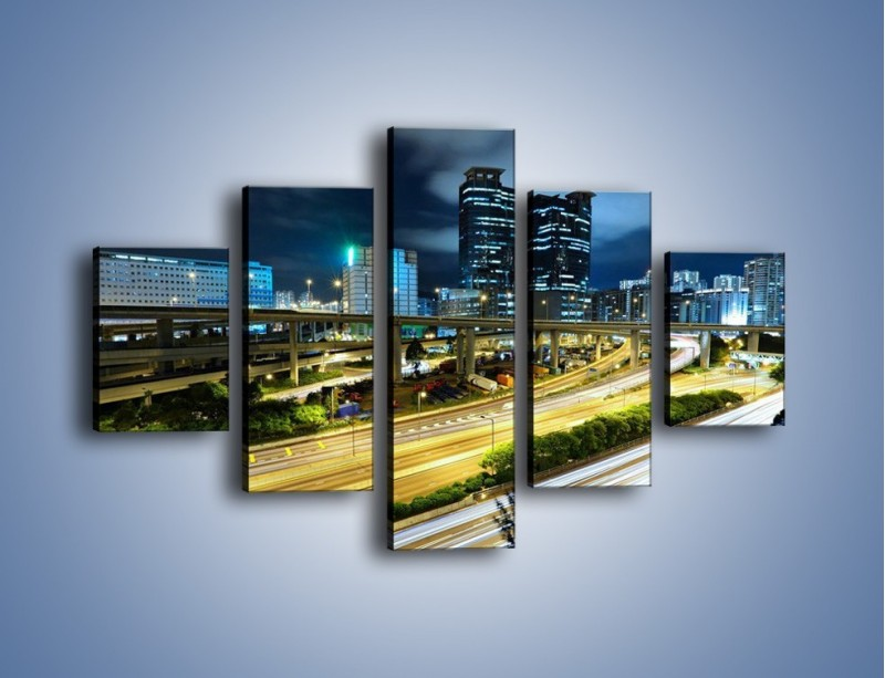 Obraz na płótnie – Przedmieście miasta wieczorem – pięcioczęściowy AM091W1