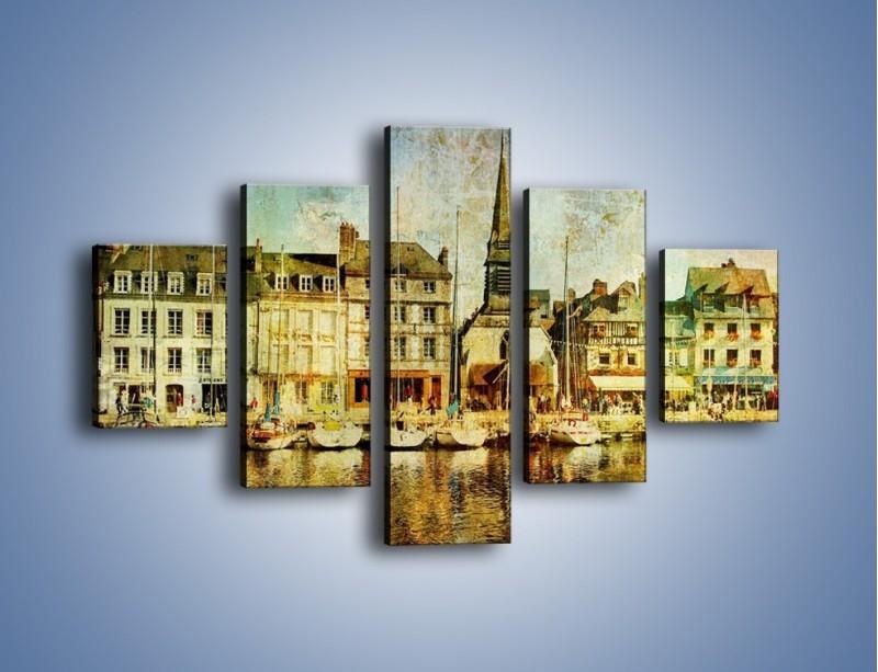Obraz na płótnie – Łódki nad brzegiem miasteczka w stylu vintage – pięcioczęściowy AM108W1