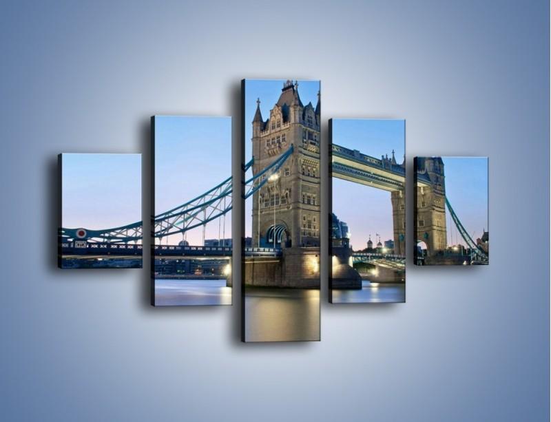 Obraz na płótnie – Tower Bridge o poranku – pięcioczęściowy AM143W1
