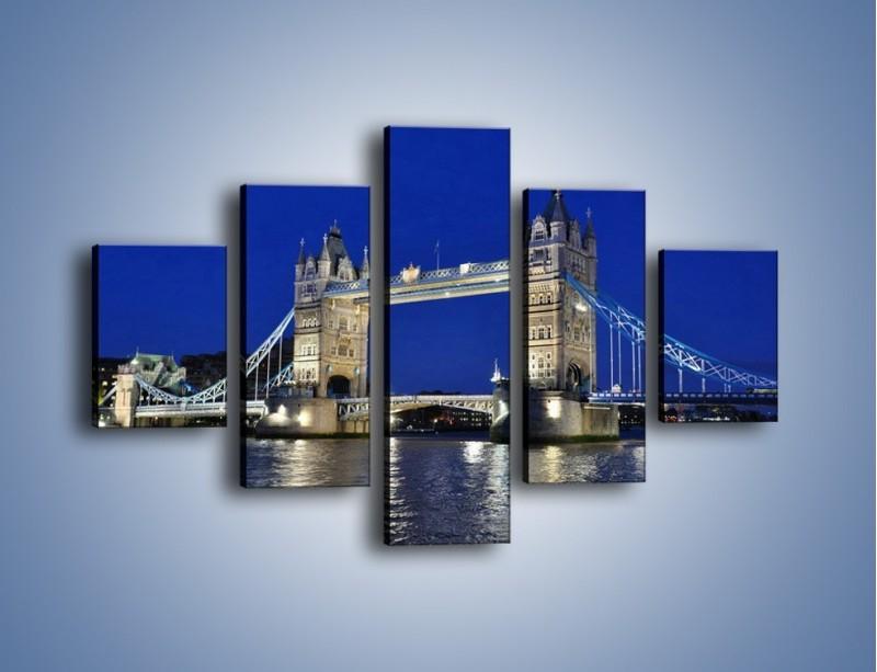 Obraz na płótnie – Tower Bridge nocą – pięcioczęściowy AM145W1