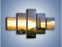 Obraz na płótnie – Azjatycka architektura o poranku – pięcioczęściowy AM151W1