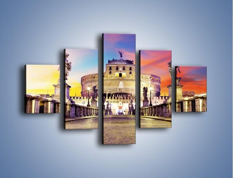 Obraz na płótnie – Zamek św. Anioła na tle kolorowego nieba – pięcioczęściowy AM156W1