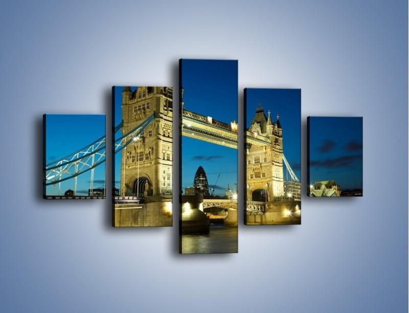 Obraz na płótnie – Tower Bridge wieczorową porą – pięcioczęściowy AM159W1