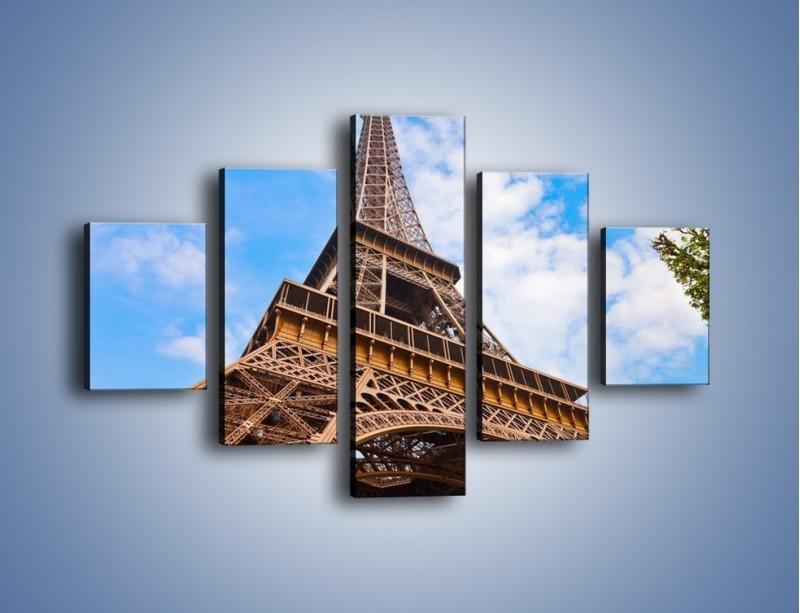 Obraz na płótnie – Wieża Eiffla pod chmurkami – pięcioczęściowy AM173W1