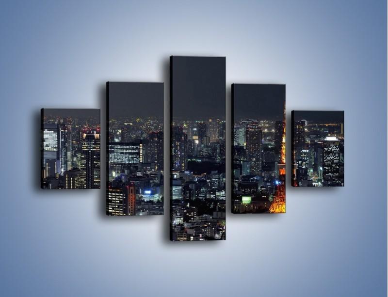 Obraz na płótnie – Rozświetlona Wieża Eiffla nocą – pięcioczęściowy AM174W1