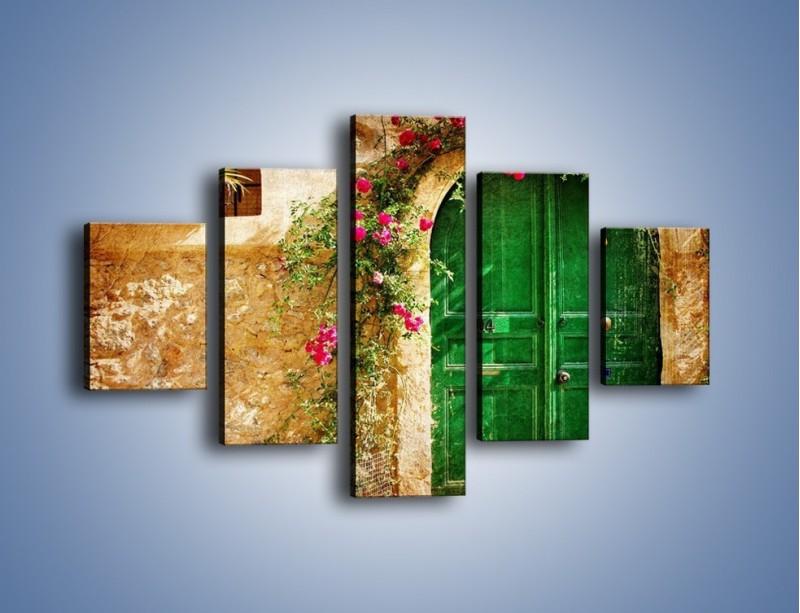 Obraz na płótnie – Drzwi w greckim domu vintage – pięcioczęściowy AM192W1