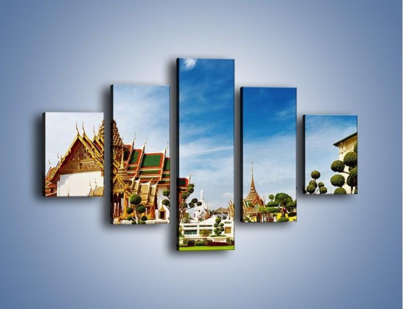 Obraz na płótnie – Tajska architektura pod błękitnym niebem – pięcioczęściowy AM197W1