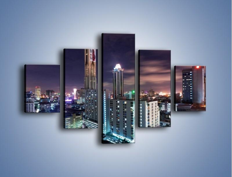 Obraz na płótnie – Duże miasto nocą – pięcioczęściowy AM202W1