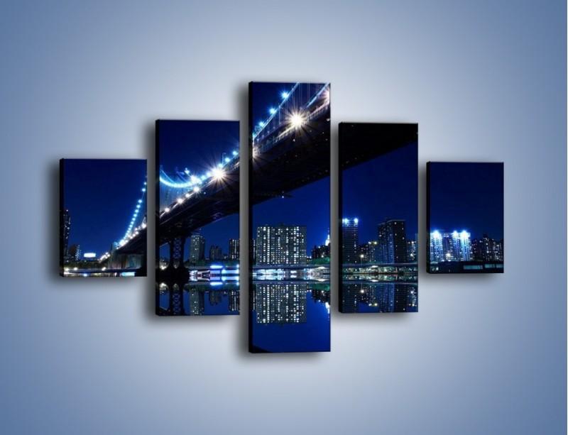 Obraz na płótnie – Oświetlony most w odbiciu wody – pięcioczęściowy AM211W1
