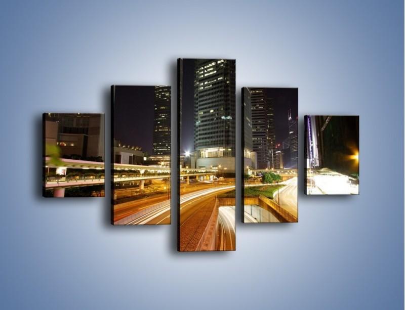 Obraz na płótnie – Miasto w nocnym ruchu ulicznym – pięcioczęściowy AM225W1