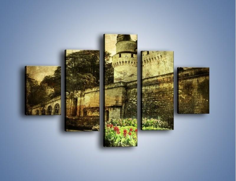Obraz na płótnie – Zamek w stylu vintage – pięcioczęściowy AM234W1