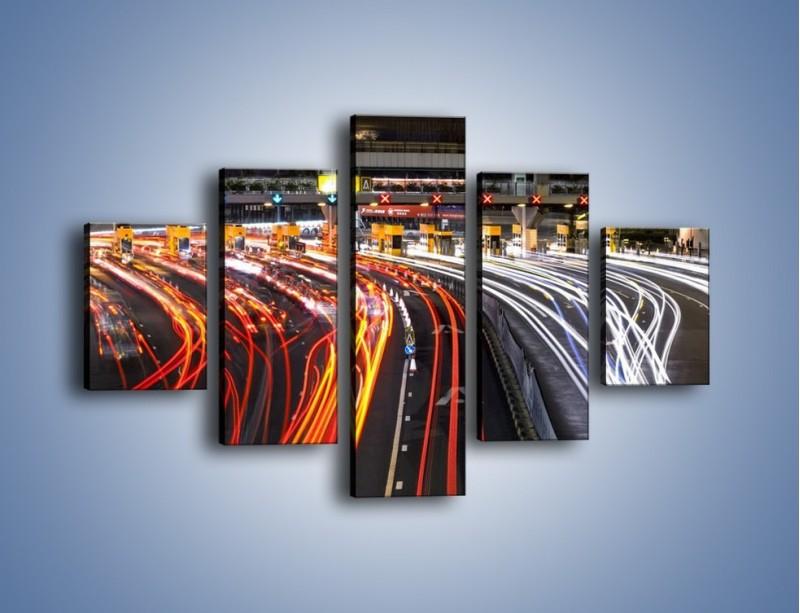 Obraz na płótnie – Autostradowa bramka w ruchu świateł – pięcioczęściowy AM236W1