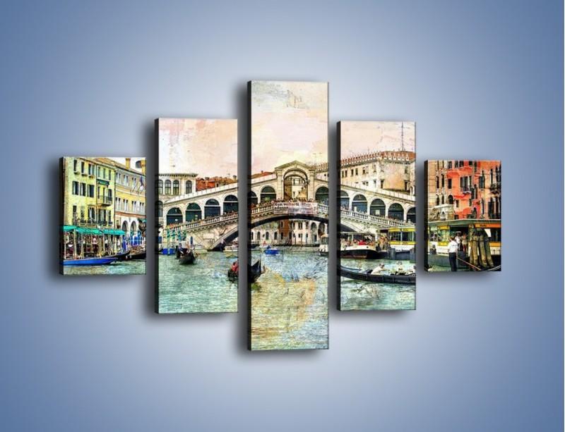 Obraz na płótnie – Wenecja w stylu vintage – pięcioczęściowy AM239W1