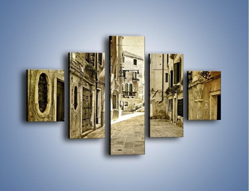 Obraz na płótnie – Stara uliczka w stylu vintage – pięcioczęściowy AM243W1