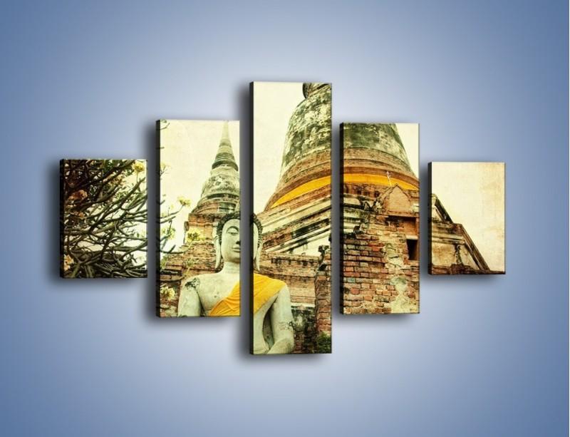 Obraz na płótnie – Tybetańska architektura w stylu vintage – pięcioczęściowy AM247W1