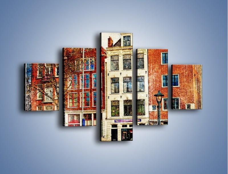 Obraz na płótnie – Amsterdam w stylu vintage – pięcioczęściowy AM258W1