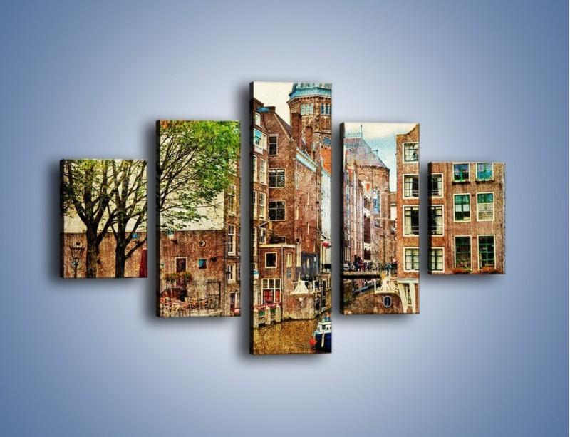 Obraz na płótnie – Kanał w Amsterdamie vintage – pięcioczęściowy AM259W1