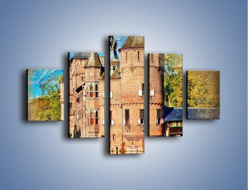 Obraz na płótnie – Zamek nad wodą w stylu vintage – pięcioczęściowy AM262W1